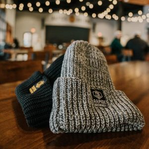 Grey and black winter hats